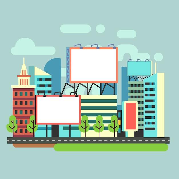 Cartazes de anúncio vazio urbano na cidade plana Vetor Premium