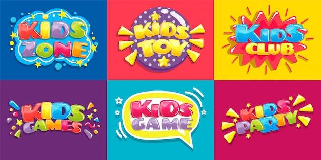 Cartazes de clube de crianças. diversão de brinquedos jogando zona, jogos infantis festa e área de jogo cartaz ilustração conjunto Vetor Premium