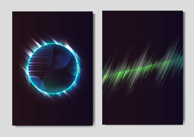 Cartazes de efeito de luz de néon Vetor grátis