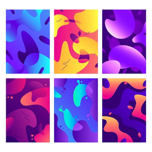 Cartazes de formas líquidas, forma fluida de cor moderna, cores difusas abstratas e fundo de gradiente de moda Vetor Premium