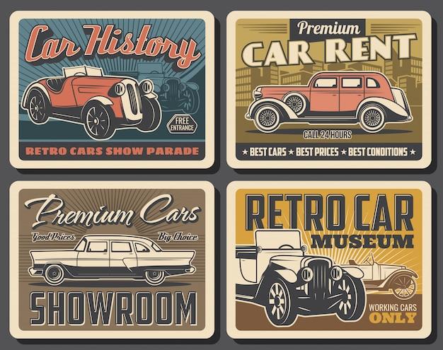 Cartazes de museu de carro retrô Vetor Premium