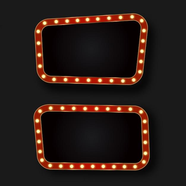 Cartazes de néon retrô realistas sobre o fundo escuro. modelo para decoração vintage e quadro indicador. Vetor Premium
