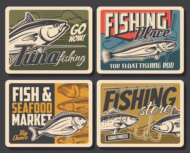 Cartazes de pesca, peixes e vara de pescador para atum, truta e robalo. grande mercado de pesca marítima e oceânica, loja de iscas e iscas para pescadores, anzol para peixes dourados e peixes escamados Vetor Premium