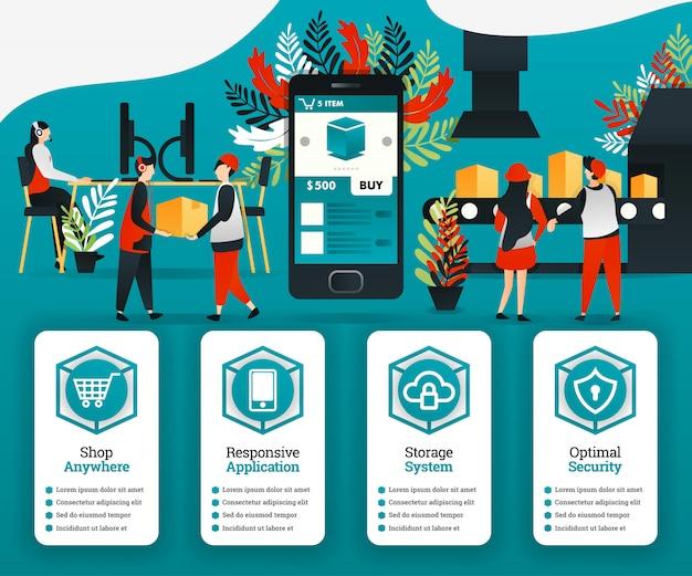 Cartazes de revolução industrial 4.0 e e-commerce Vetor Premium