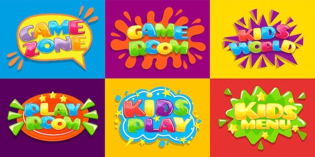 Cartazes de sala de jogos. sala de jogos de crianças divertidas, zona de jogos para jovens e fundo de ilustração de menu de crianças Vetor Premium