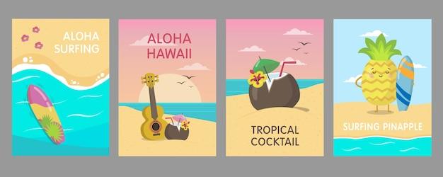 Cartazes havaianos coloridos projetam com praia do mar. elementos tropicais brilhantes e personagens de frutas vivas. conceito de férias e verão do havaí. modelo para folheto promocional ou folheto Vetor grátis
