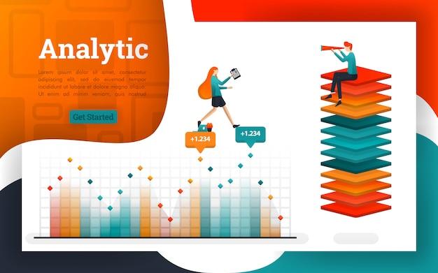Cartazes ou páginas da web para fins de análise e financeiros Vetor Premium