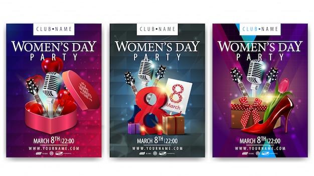 Cartazes para o dia das mulheres para festas Vetor Premium