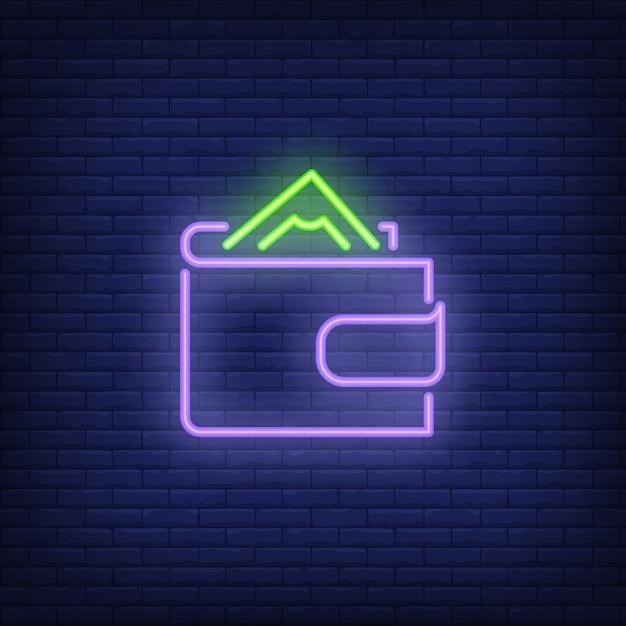 Carteira com sinal de néon do dinheiro Vetor grátis