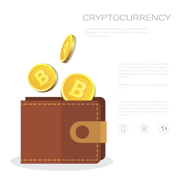 Carteira de bitcoin com moeda de ouro ícone criptografia de moeda e conceito de negociação Vetor Premium