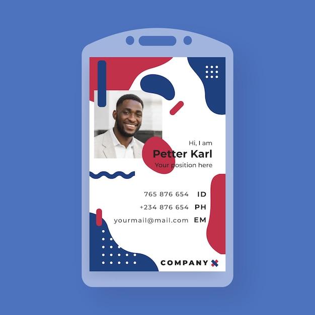Carteira de identidade comercial no estilo memphis com foto Vetor grátis