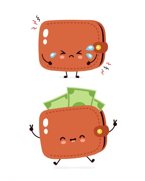 Carteira de notas de dinheiro choro feliz e triste bonito Vetor Premium
