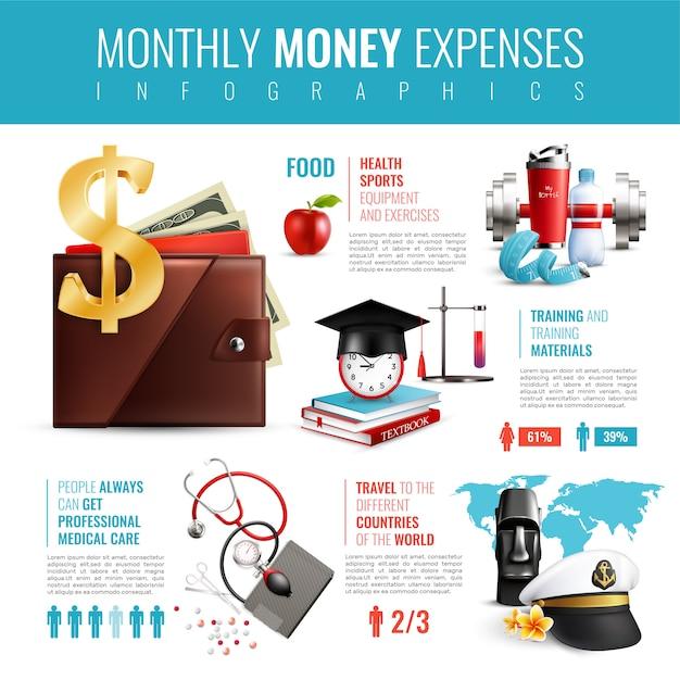 Carteira realista despesas mensais infográficos Vetor grátis