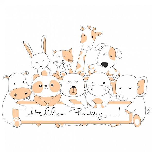 Cartões com animais fofos dos desenhos animados Vetor Premium