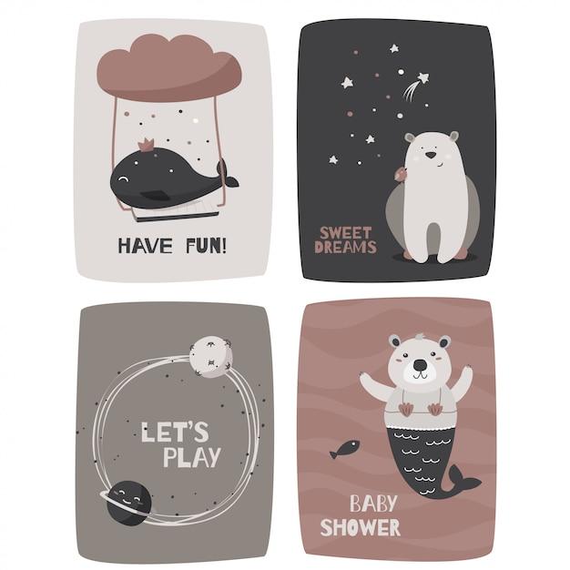 Cartões com animais fofos Vetor Premium
