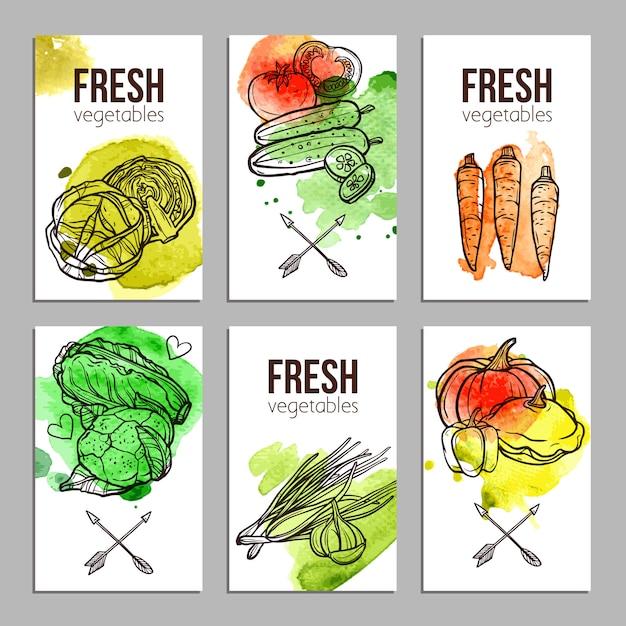 Cartões com legumes Vetor grátis