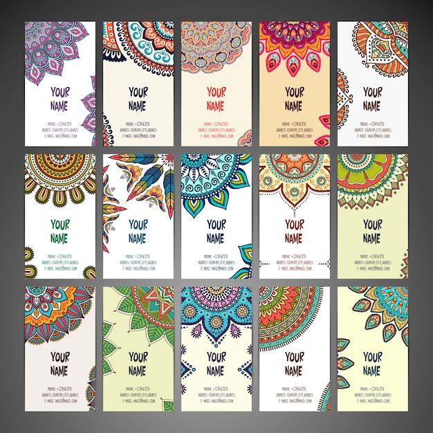 Cartões com mandalas Vetor grátis