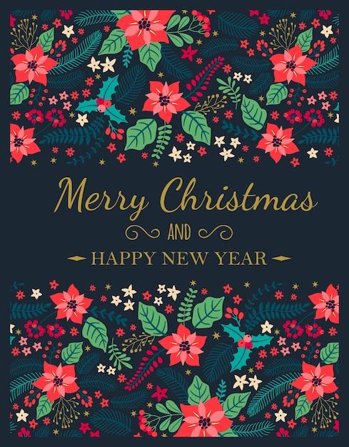 Cartões criativos. posters de natal. cartão com plantas de inverno em um fundo azul. letras modernas
