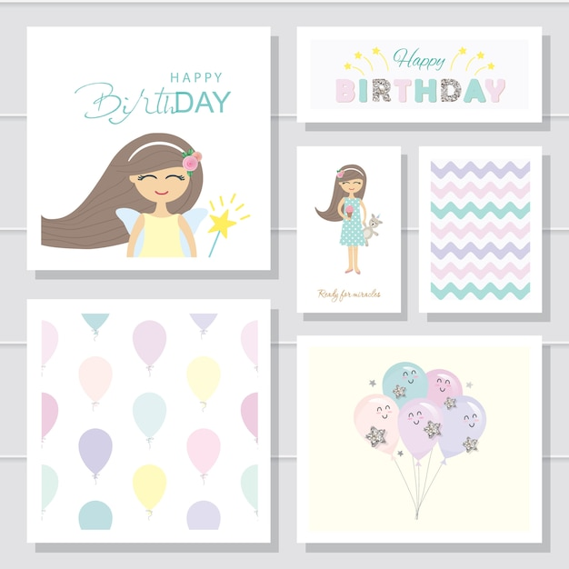 Cartões de aniversário bonito dos desenhos animados e conjunto de modelos Vetor Premium