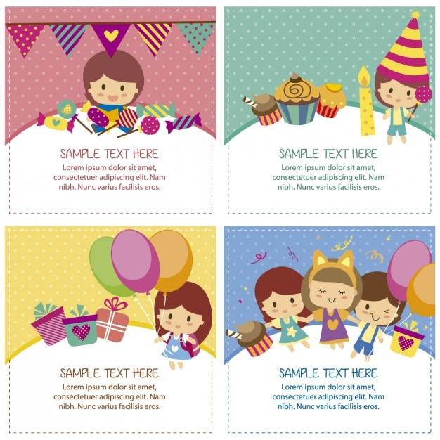 Cartões de aniversário com crianças bonitos Vetor grátis