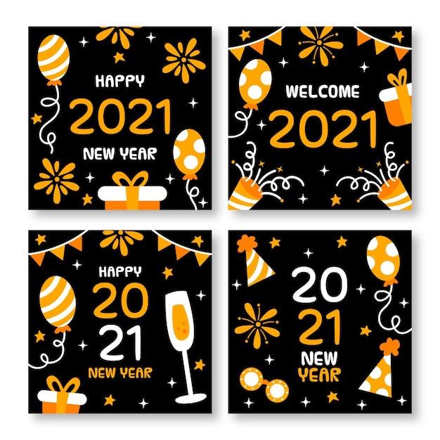 Cartões de ano novo de 2021 desenhados à mão Vetor grátis