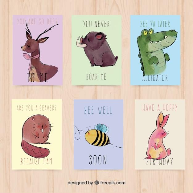 Cartões de aquarela com animais divertidos Vetor grátis