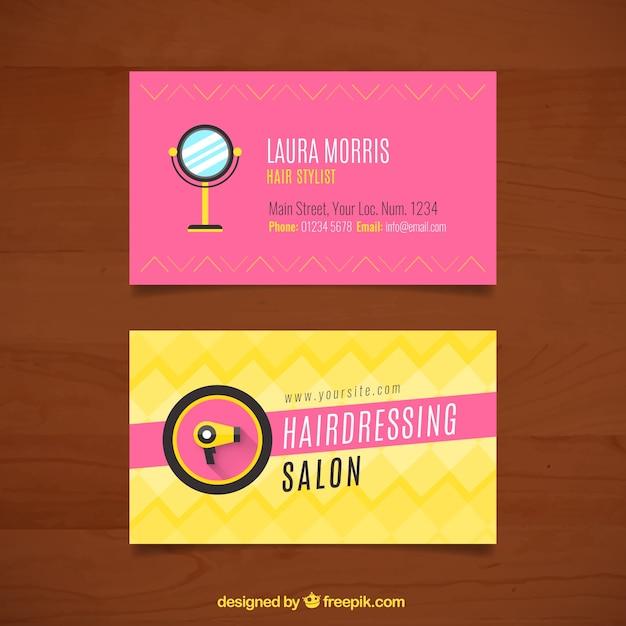 Cartões de cabeleireiro com espelho e secador de cabelo Vetor Premium