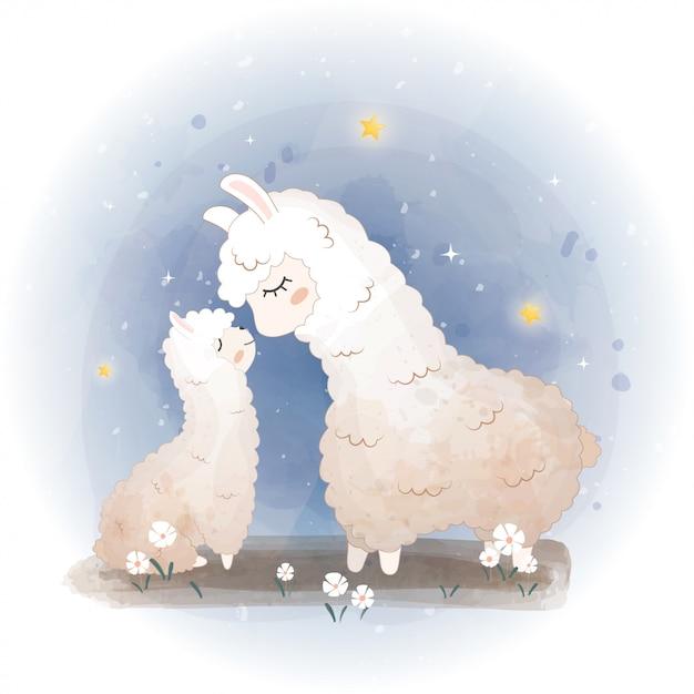 Cartões de chá de bebê. lhama bonito, mãe de alpaca em flores, mãe de lhama e bebê Vetor Premium