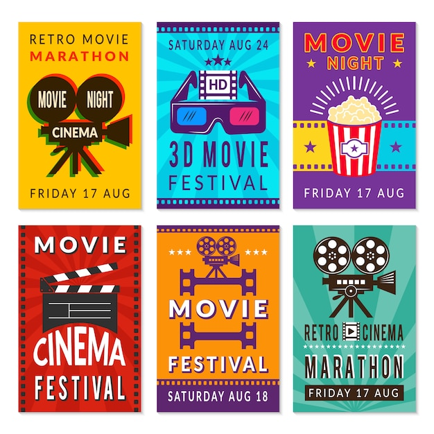 Cartões de cinema de modelo. vários cartões de cinema Vetor Premium