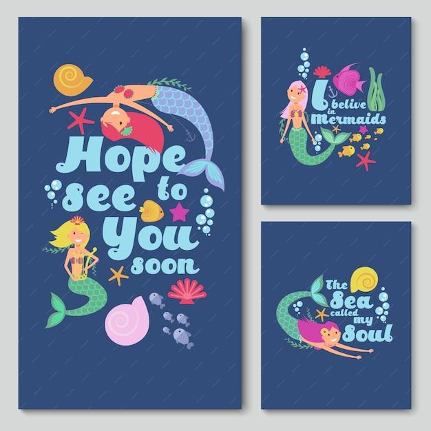 Cartões de convite azul vector com sereia de mar bonito dos desenhos animados, estrelas do mar e peixes Vetor Premium
