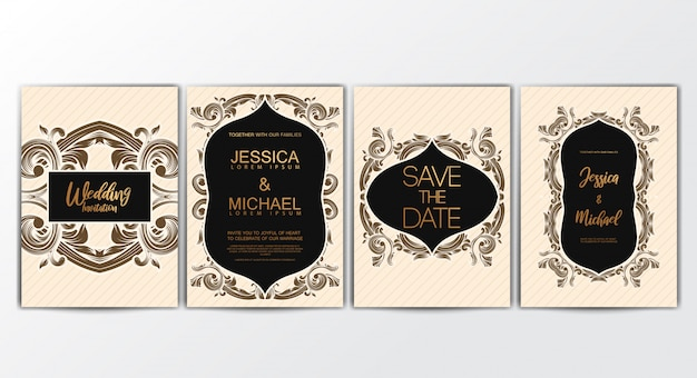 Cartões de convite com conceito luxuoso Vetor Premium