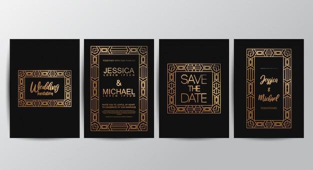Cartões de convite de casamento de luxo premium Vetor Premium