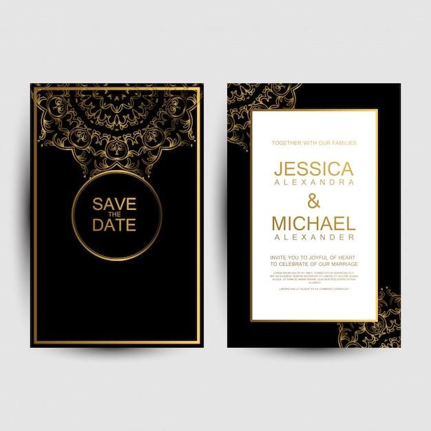Cartões de convite de casamento de luxo Vetor Premium