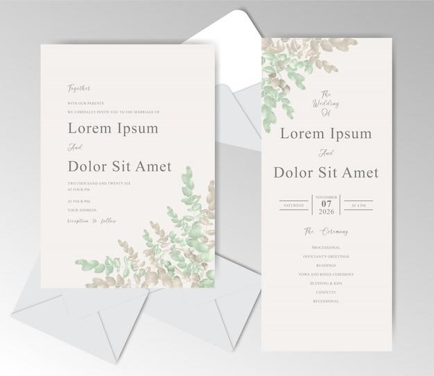 Cartões de convite de casamento elegante em aquarela com eucalipto bonito Vetor Premium