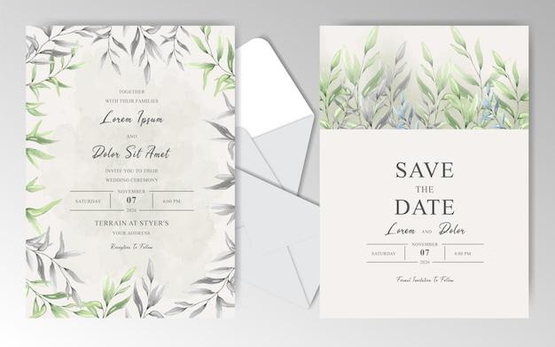 Cartões de convite de casamento elegante em aquarela com folhas bonitas Vetor Premium