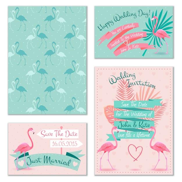 Cartões de convite de casamento flamingo Vetor grátis
