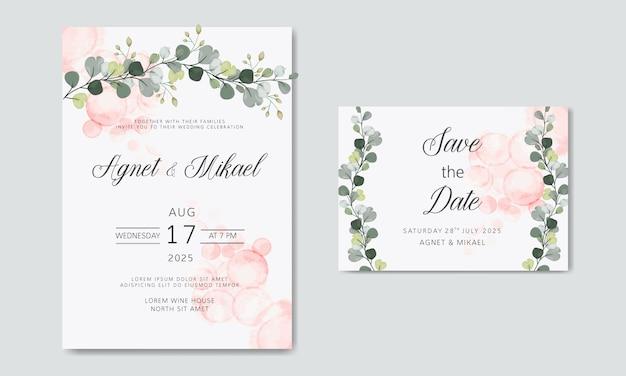 Cartões de convite de casamento floral bonito e elegante Vetor Premium
