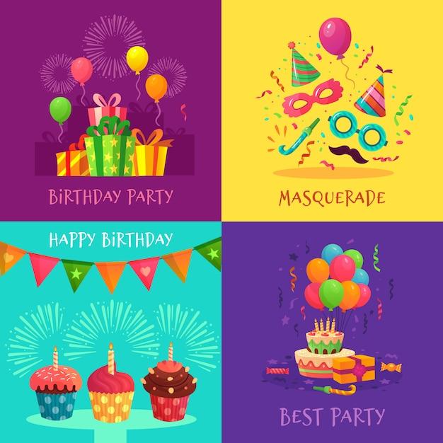Cartões de convite de festa dos desenhos animados. máscaras de carnaval de celebração, decorações para festas de aniversário e cupcakes coloridos conjunto de ilustração Vetor Premium