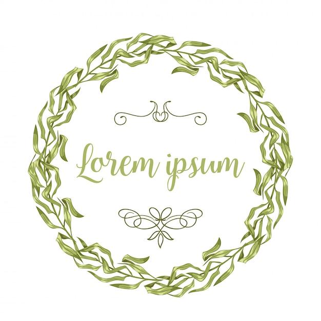 Cartões de convite de vetor com galhos à base de plantas e galhos de grinalda e cantos fronteira quadros. Vetor Premium