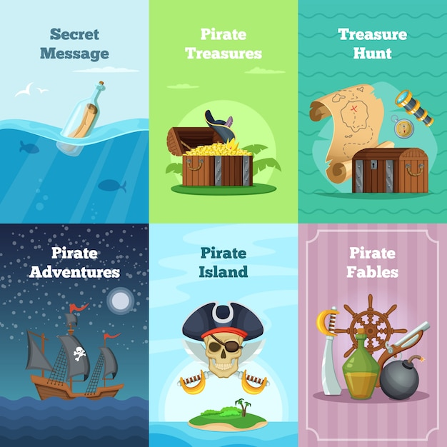Cartões de convite diferente do tema pirata. ilustrações vetoriais com lugar para o seu texto. cartão pirata caça tesouro e aventura Vetor Premium