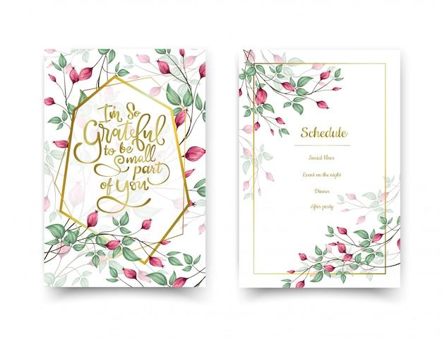 Cartões de convite floral. Vetor Premium