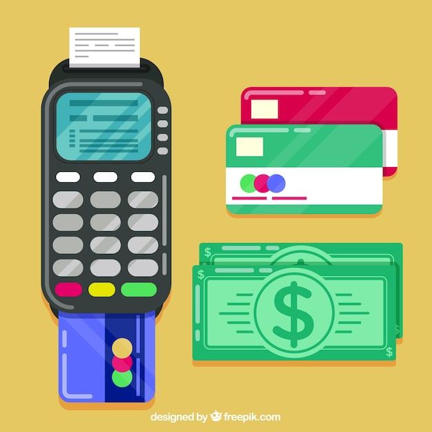 Cartões de crédito coloridos e dinheiro em dinheiro Vetor grátis