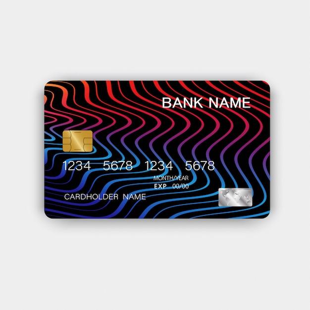 Cartões de crédito com linhas abstratas Vetor Premium