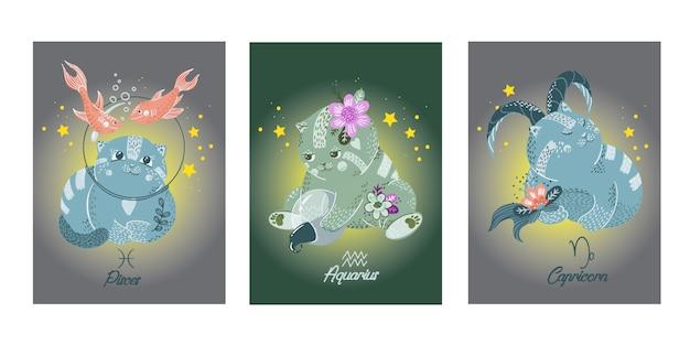 Cartões de desenhos animados do zodíaco com personagens de gatos Vetor Premium