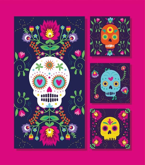 Cartões de dia de muertos com caveiras e flores Vetor grátis