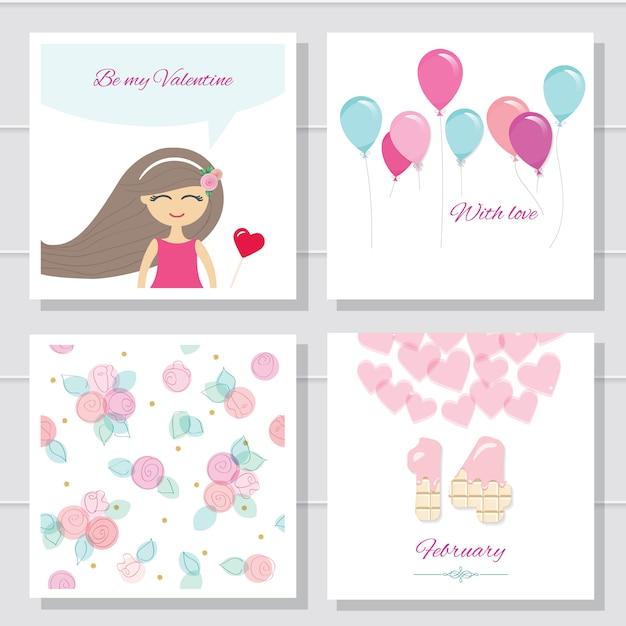 Cartões de dia dos namorados bonito dos desenhos animados ou conjunto de aniversário Vetor Premium