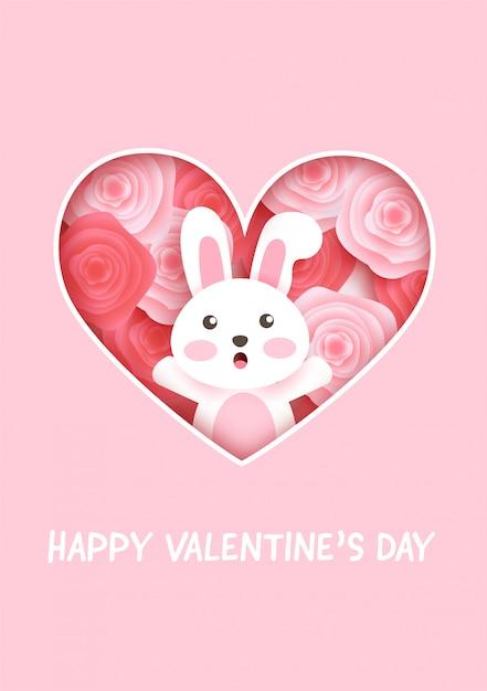 Cartões de dia dos namorados com coelho fofo e rosas. Vetor Premium