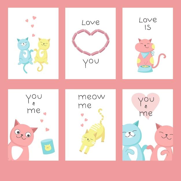 Cartões de dia dos namorados com gatos no amor, corações, letras de texto de caligrafia. vetorial mão ilustrações desenhadas. Vetor Premium