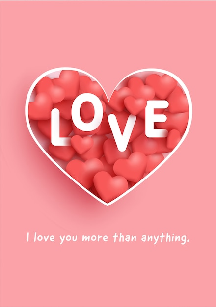Cartões de dia dos namorados com palavra de amor e corações. Vetor Premium