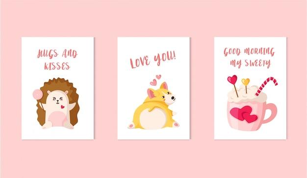Cartões de dia dos namorados - filhote de cachorro de corgi dos desenhos animados, ouriço kawaii com pirulito, bebida, pirulito Vetor Premium